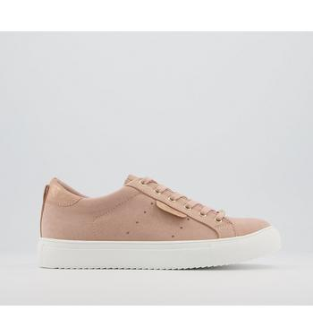 Office Flora Star Detail Lace Up Trainers NUDE ROSE GOLD MIX