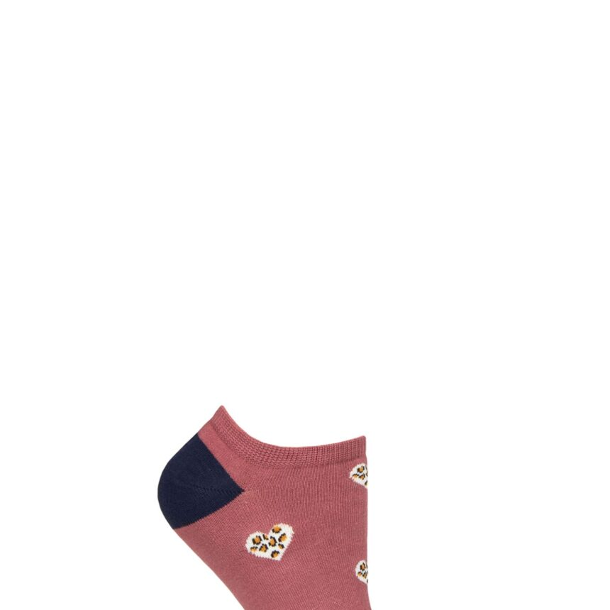 Ladies 1 Pair Thought Lily Leopard Heart Bamboo and Organic Cotton Trainer Socks Rose Pink 4-7 Ladies